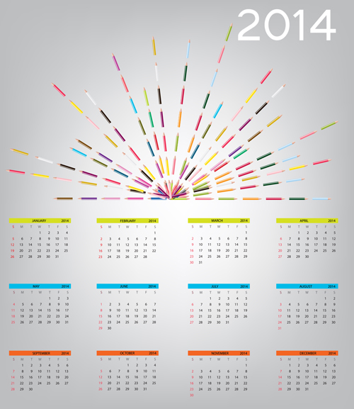 New Year Calendar Designs : New year calendar design vector
