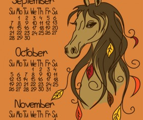 Calendar 2014 Horse Year vector 01