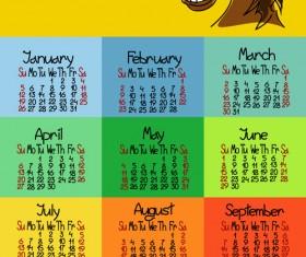 Calendar 2014 Horse Year vector 04