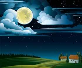 Charming night vector background 01