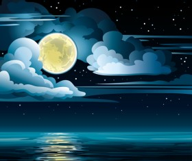 Charming night vector background 02