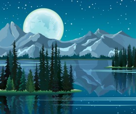 Charming night vector background 03