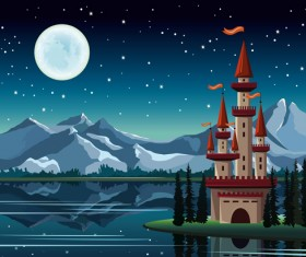 Charming night vector background 04