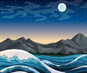 Charming night vector background 05