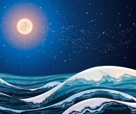 Charming night vector background 07