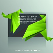 Origami bird and text boxes vector 02