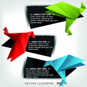 Origami bird and text boxes vector 04