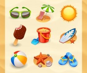 Summer travel elements icons vector 01
