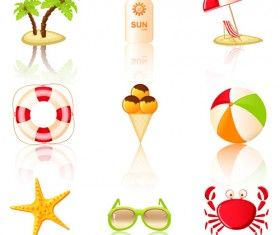 Summer travel elements icons vector 03