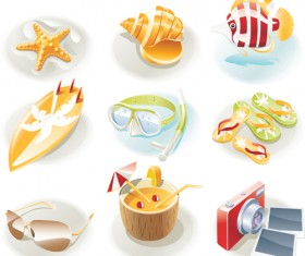 Summer travel elements icons vector 05