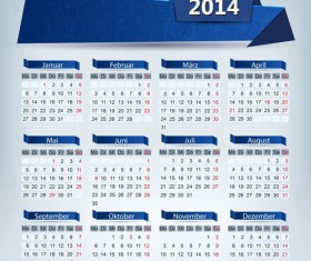 2014 Calendar grid vector design 01