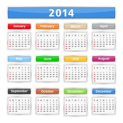 2014 Calendar grid vector design 03