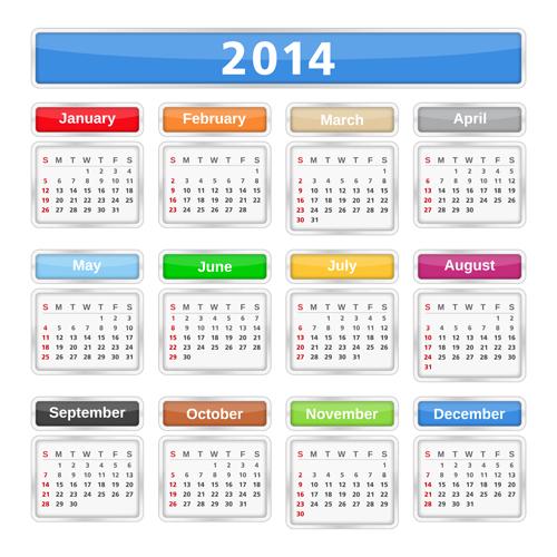 2014 Calendar grid vector design 03