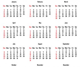2014 Calendar grid vector design 04