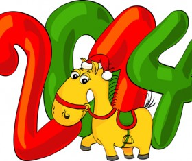 2014 Christmas Horse design elements vector 04