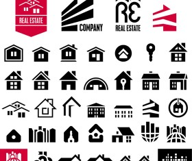 Black house icons vector