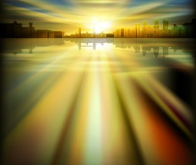 Urban Sunrise Landscape vector 01