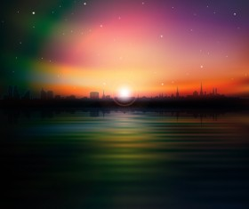 Urban Sunrise Landscape vector 02