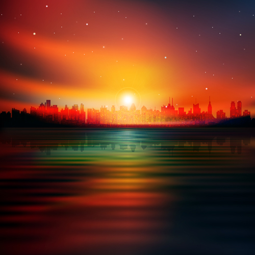 Urban Sunrise Landscape vector 04
