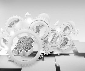 Concept gearwheel background psd graphic