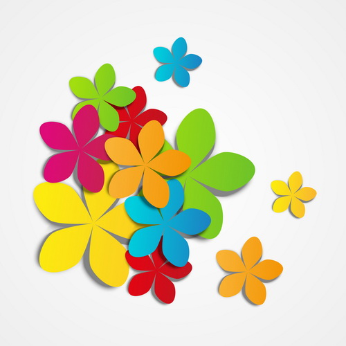 Colored paper flower vector - Vector Flower free download
