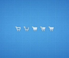 Small fine shopping cart icons psd