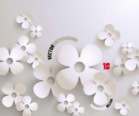 White paper flower vector 01