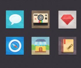 Set flat psd icons