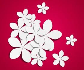 White paper flower vector 02