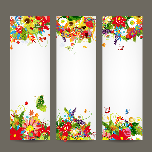 Beautiful floral banner vector 01