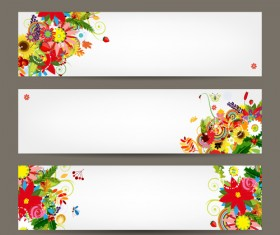 Beautiful floral banner vector 03