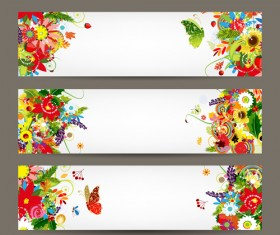 Beautiful floral banner vector 04