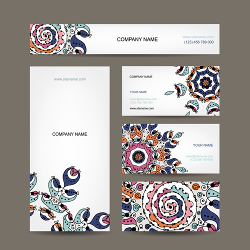 Beautiful floral card vector 02