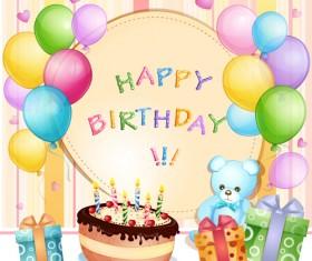 Cartoon Birthday cards design vector 01