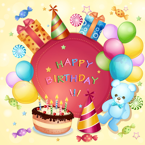 Cartoon Birthday Cards Design Vector 02 Free Download