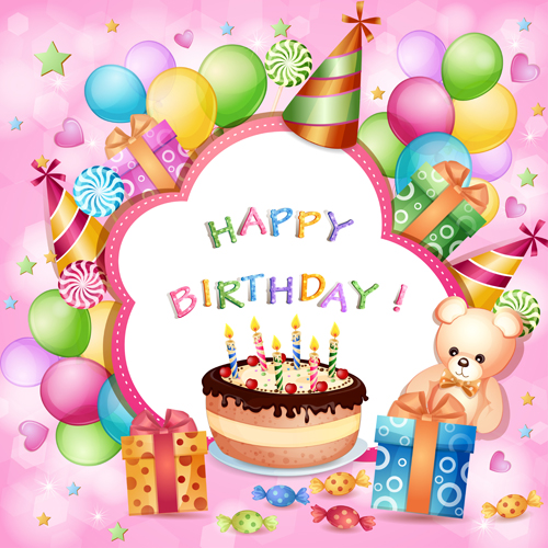 Lovely Cartoon Birthday Cards Design Vector 03   Vector Birthday, Vector Festival  Fr.