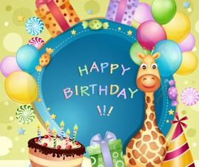 Cartoon Birthday cards design vector 04