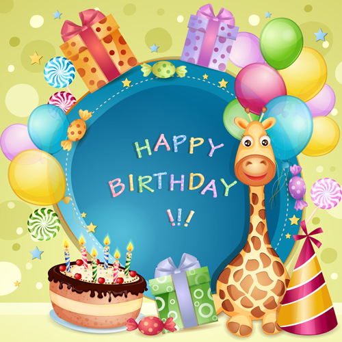 Cartoon Birthday Cards Design Vector 04 Free Download