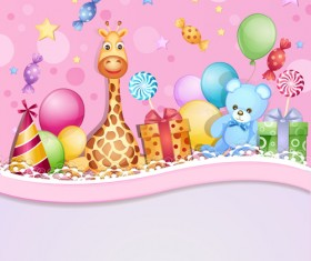 Cartoon Birthday cards design vector 05
