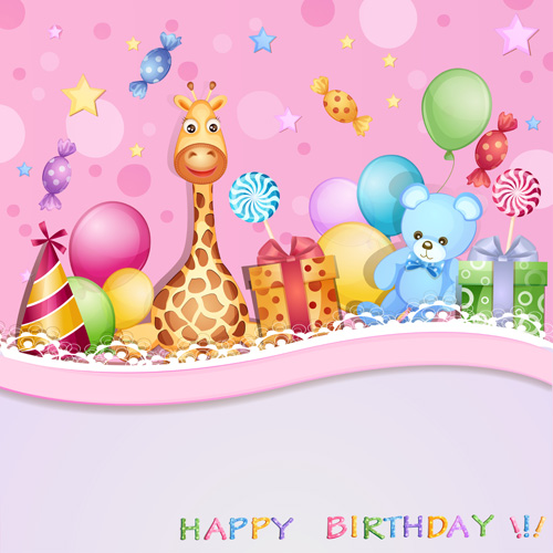 Cartoon Birthday cards design vector 05 Vector Birthday Vector – Cartoon Birthday Greetings