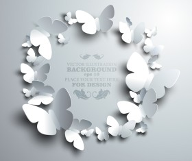 Paper butterflies vector backgrounds 01