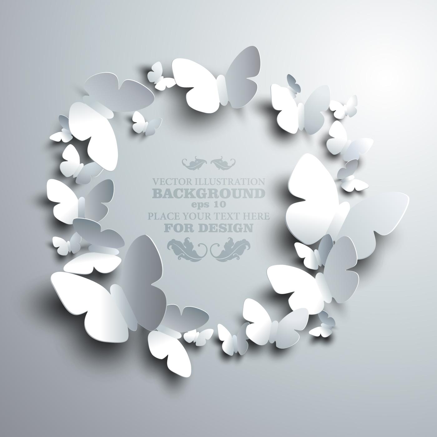 Paper butterflies vector backgrounds 01 free download - photo#13