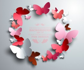 Paper butterflies vector backgrounds 04