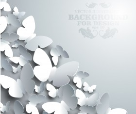 Paper butterflies vector backgrounds 05