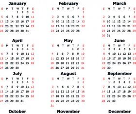 Calendar 2014 vector huge collection 01