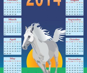 Calendar 2014 Horse design vector 01