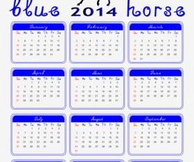 Calendar 2014 Horse design vector 02