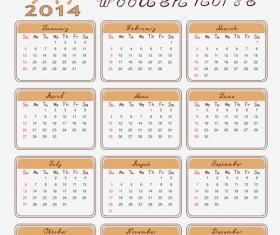 Calendar 2014 Horse design vector 05
