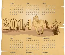 Calendar 2014 Horse design vector 07
