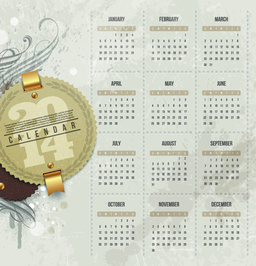Calendar 2014 vector huge collection 21